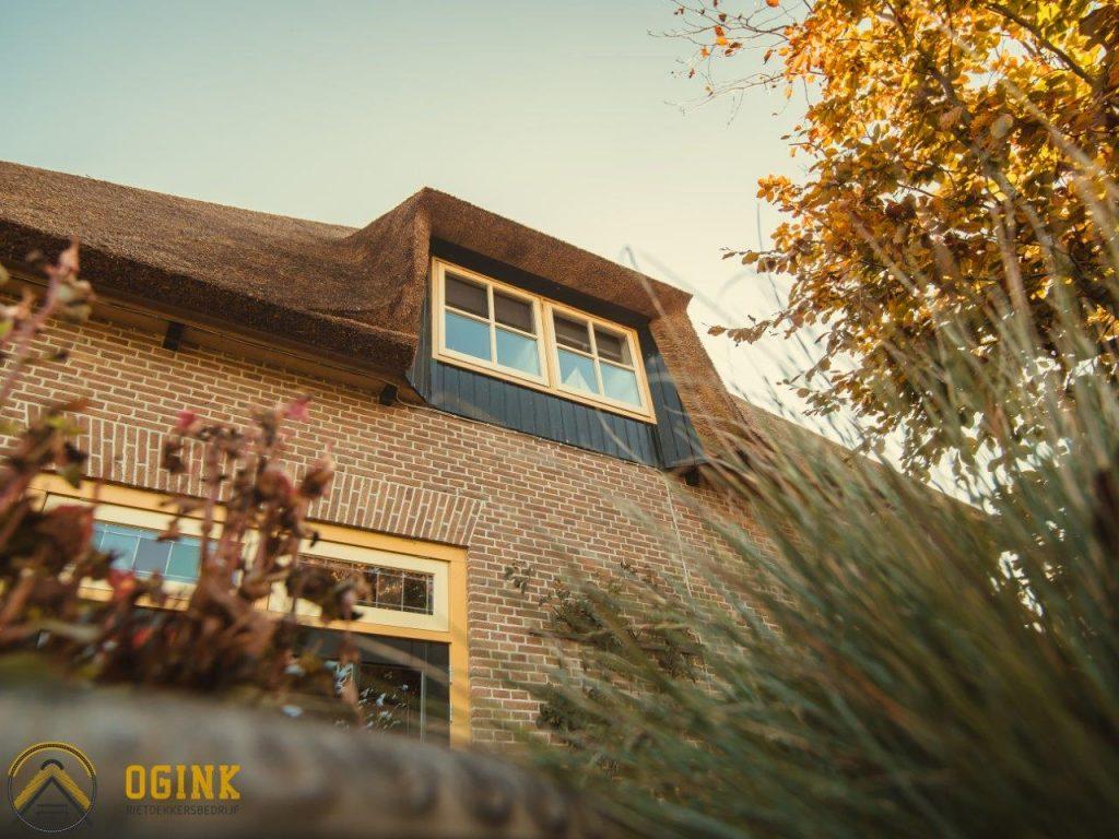 detail foto shot rieten dak ogink rietdekkers uitbouw